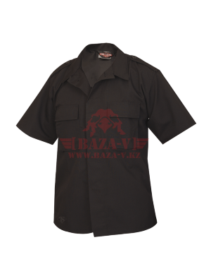 Тактическая рубашка с коротким рукавом TRU-SPEC Short Sleeve Tactical Shirt 4.5 oz. 65/35 PC Rip-Stop (Black)