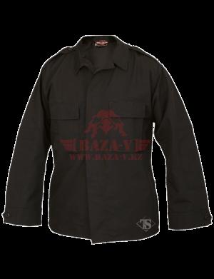 Тактическая рубашка с длинным рукавом TRU-SPEC Long Sleeve Tactical Shirt 6.5 oz. 65/35 PC Rip-Stop (Black)