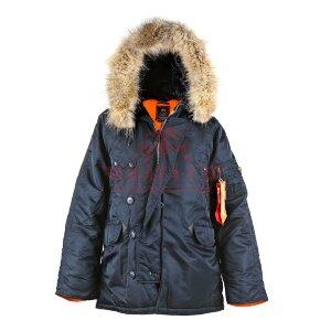 Зимняя куртка-парка Аляска Alpha Industries Slim Fit N-3B, натуральный мех (Replica Blue/Orange)
