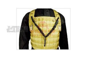 """Одноточечный ремень 1"""" эластичный с креплением на тактический жилет  J-Tech® MK-23 Elastic Tactical Sling (Black)"""