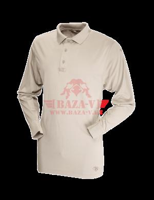 Мужское Поло с длинным рукавом TRU-SPEC Men's 24-7 SERIES® Performance Polo Shirt 100% Jersey Knit Polyester (Silver Tan)