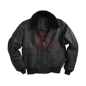 Летная кожаная куртка Alpha Industries G-1 Leather Jacket (Black)