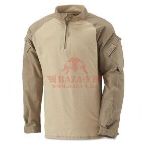Тактическая рубашка TRU-SPEC TRU® 1/4 Zip Combat Shirt (Однотонные) 65/35 PC Ripstop (Khaki)
