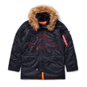 Зимняя куртка парка Alpha Industries SLIM FIT N-3B (Black/Orange)